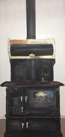 Stove painting for drama set.