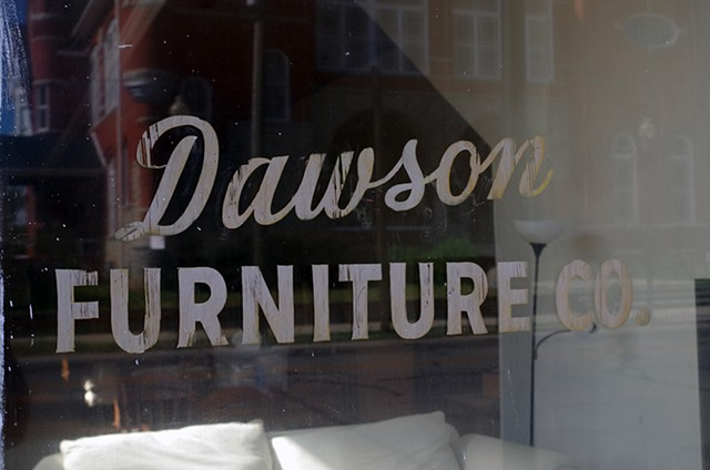Dawson Furniture with Reflection of Terrell County Courthouse.