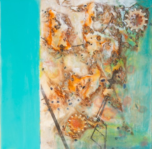 Encaustic with mixed media painting Pam Nichols