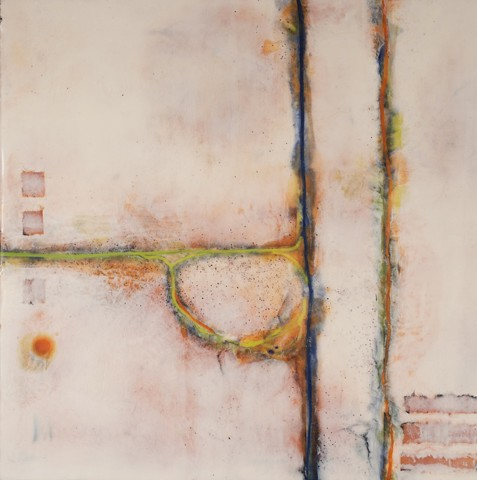 encaustic rust painting pam nichols abstract art wax bees