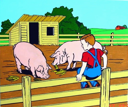 Possibilities Are Endless by John Zoller, Painting by John Zoller, Mirror Painting, Painting of a Mirror, Painting Drawing Seriens by John Zoller, Color & Learn Series by John Zoller, Coloring book art,  Iowa Farm, Iowa, Hogs, Hog Farm, Hog Art, Hog Paint