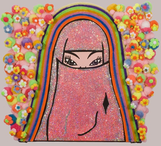 Flowers & Rainbow by John Zoller, coloring book art, Islamic woman art,