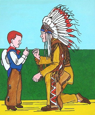 Possibilities Are Endless by John Zoller, Painting by John Zoller, Mirror Painting, Painting of a Mirror, Painting Drawing Seriens by John Zoller, Color & Learn Series by John Zoller,  Coloring book art, Boy, Indian, Sign Language,  Cowboy and Indian pain