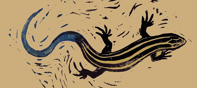Five-Lined Skink Linocut