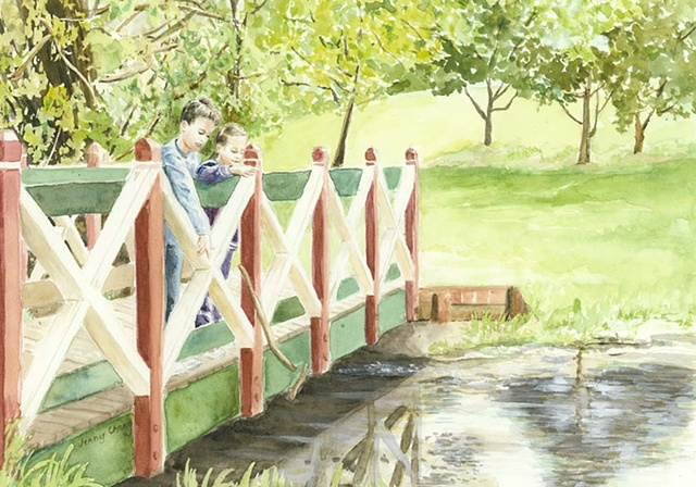 Children, playing, pooh sticks, bridge, watercolour, portrait, daylesford, vintage, illustration