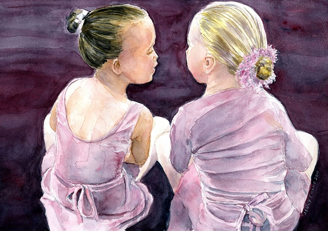child, children, dancers, seated, whispering. watercolour portrait, vintage, illustration