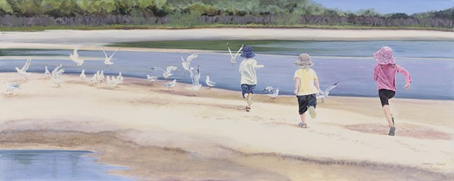 children, seagulls beach, sea, summer