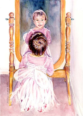Young, child, fairy, dress, mirror, watercolour, portrait, vintage, traditional, illustration