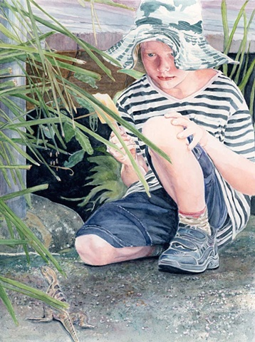 boy, looking at lizard, striped shirt, hat, foliage, ice cream, illustration