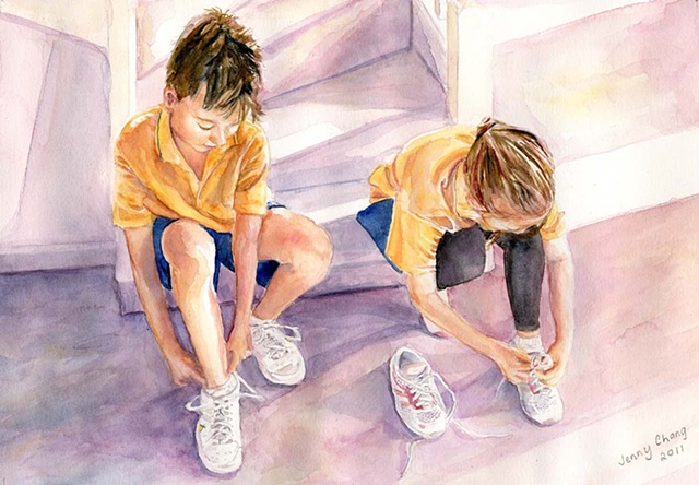 child, children, tying shoelace, shoes, runners, sneakers, watercolour portrait, vintage, illustration