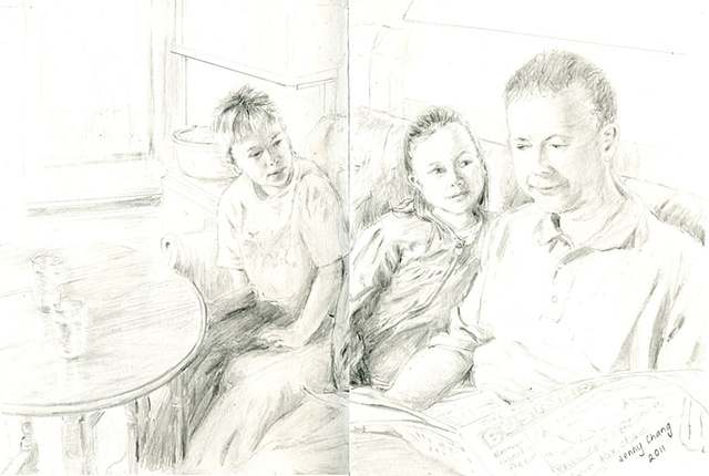 Children, Father, Man, Cafe, pencil portrait, vintage, illustration