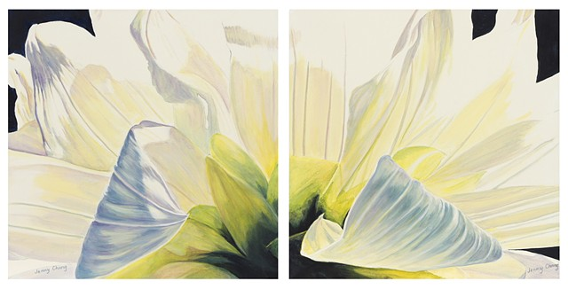 diptych, curling, flower, white, green, synthetic polymer, acrylic, canvas