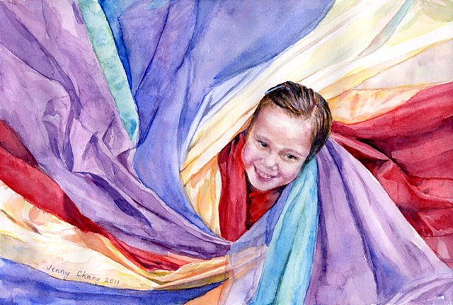girl, child, wrapped, rainbow, parachute, fabric, watercolour portrait, vintage, illustration