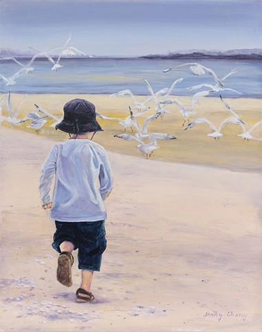 boy, blue, chasing, seagulls, beach, sea, summer