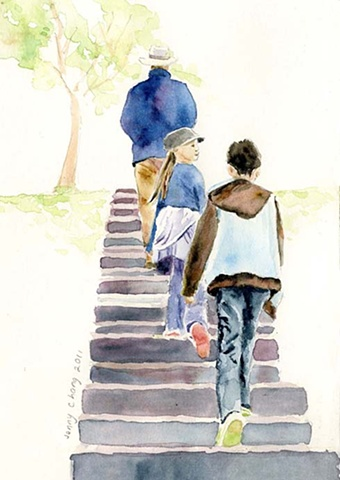 Man, children walking up steps, daylesford, watercolour , vintage, illustration