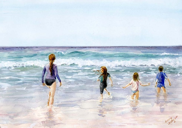 child, children, woman wading, sea, watercolour portrait, vintage, illustration