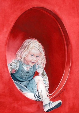 girl, child, watercolour, portrait, red, tunnel, denim, blond, illustration