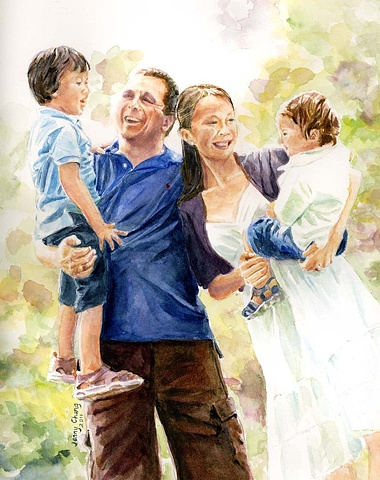 family portrait, man, woman, child, boy, park, watercolour portrait, illustration