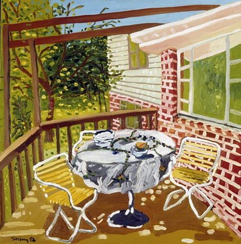 "Pine Road Porch, Oil on Canvas, 36"" x 36"""