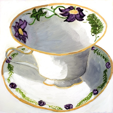 Purple Flower Teacup