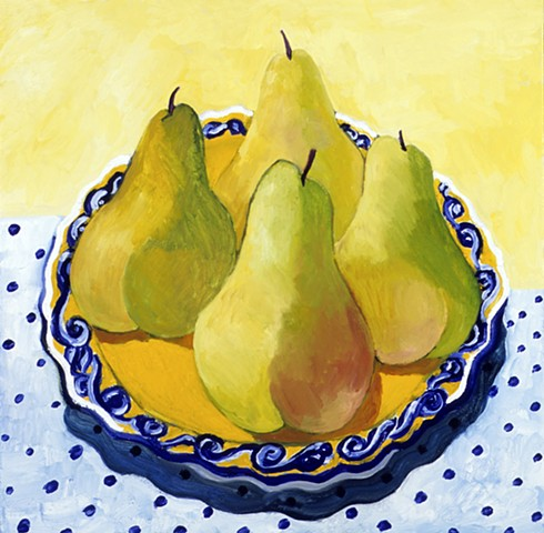 "Four Pears, Oil on Canvas, 24"" x 24"""