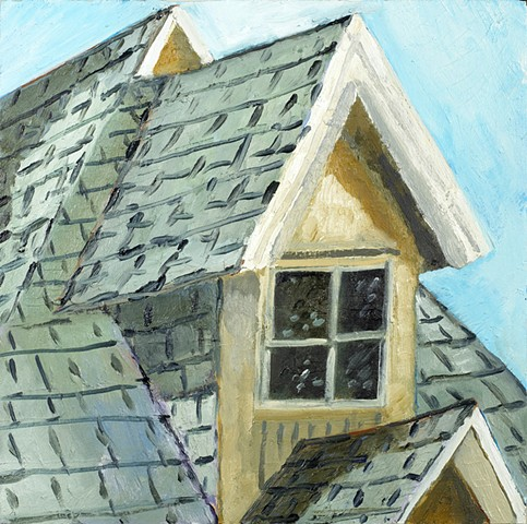 "House, Oil on Panel 12"" x 12"""