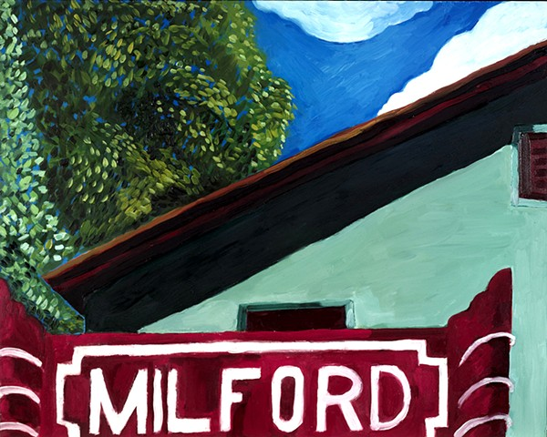 "Milford Movie Theater, Oil on Panel, 16"" x 20"""