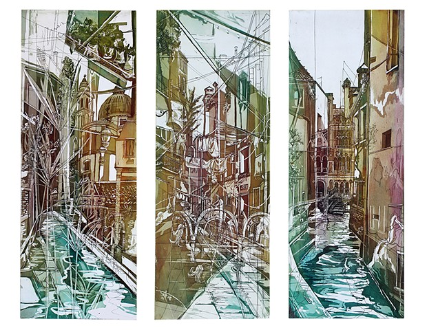 Aquatint Etching, Intaglio, Printmaking, Venice, triptych