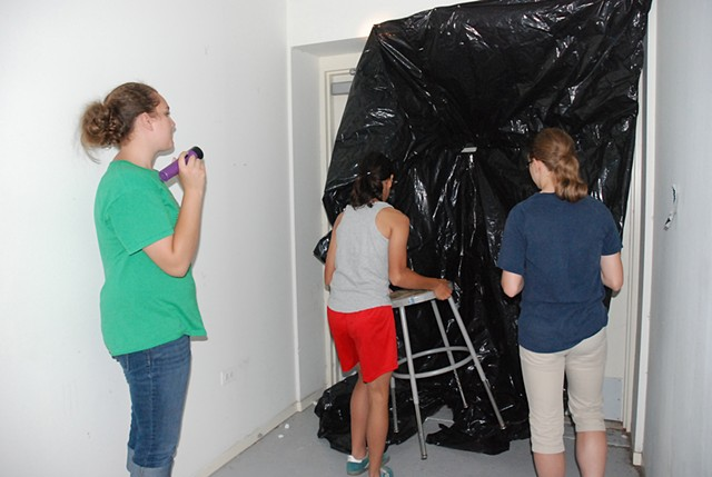 Room-sized camera at the Hyde Park Art Center with Exerimental Photo Class