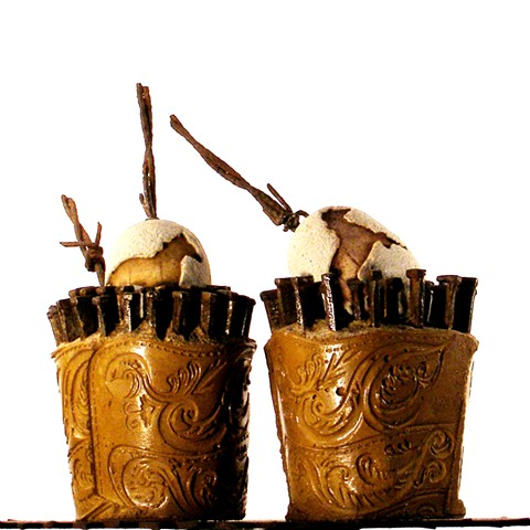 2 Tooled Nail Votives $75. a piece. 1 sold(10.18.2013) ($45.) CFG (8.7.2014) @60%=$45.