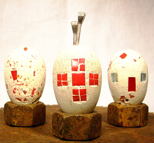 Three Red eggs.  Ceramic tile & glass.