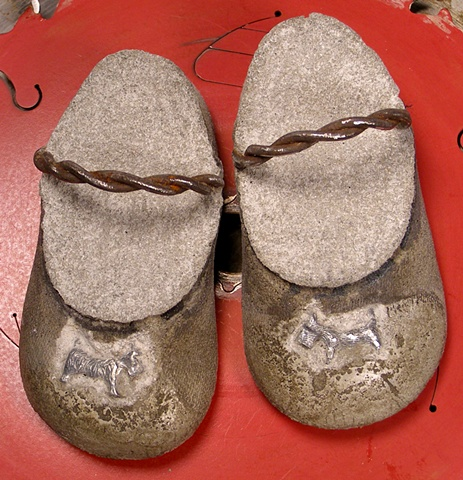 """Wee Scottie Slippers"" old metal fence wire, pewter game pieces."