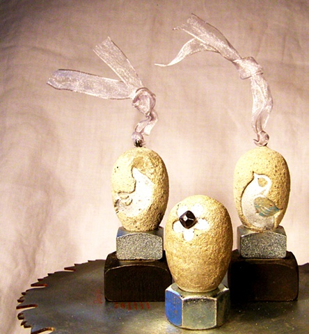 Silver Bird & Flower Eggs.