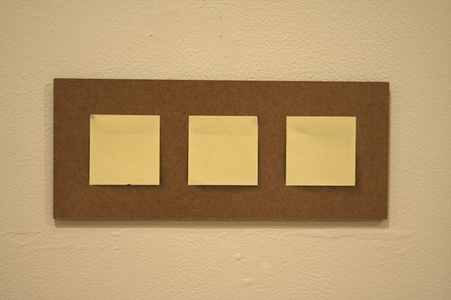 Representations of memo pads using watercolor pencil, charcoal, and paint on panel.