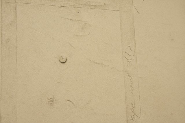 Detail of Studio Wall including tape and screw represented with graphite.