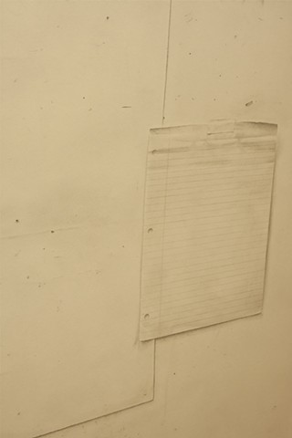 Detail of Studio Wall including tape, paper and staples represented with graphite.