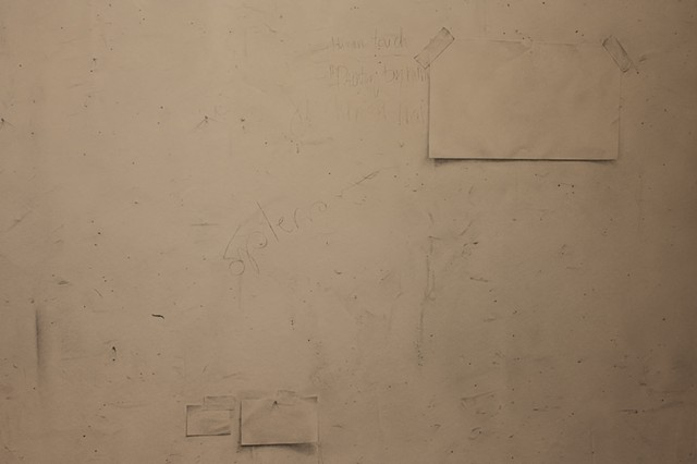 Detail of Studio Wall including tape, paper and nails represented with graphite.