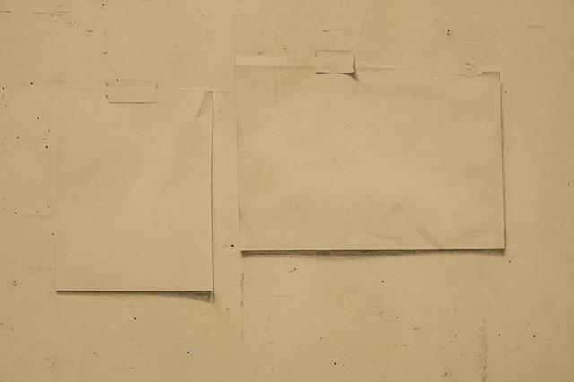 Detail of Studio Wall including tape and paper represented with graphite.