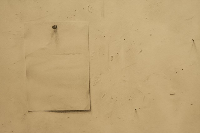 Detail of Studio Wall including tack and paper represented with graphite.