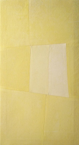 yellow artwork, geometry, shapes, fabric, by Gabrielle Teschner