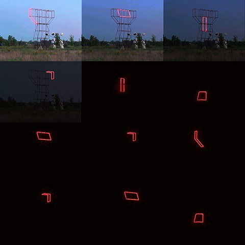 Kinetic light installation at Franconia Sculpture Park in Minnesota