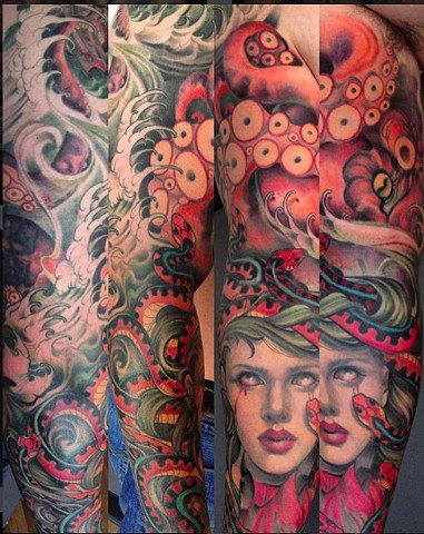 Kracken and Medusa Tattoo Sleeve