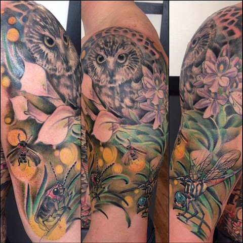 Owl, Dragonfly, lightning bug, and Lillies Half Sleeve