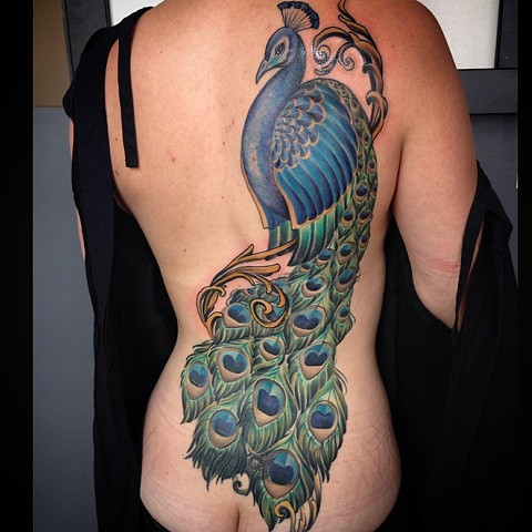 Peacock Back Piece Tattoo