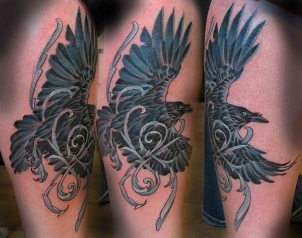 Raven with Blue Filigree