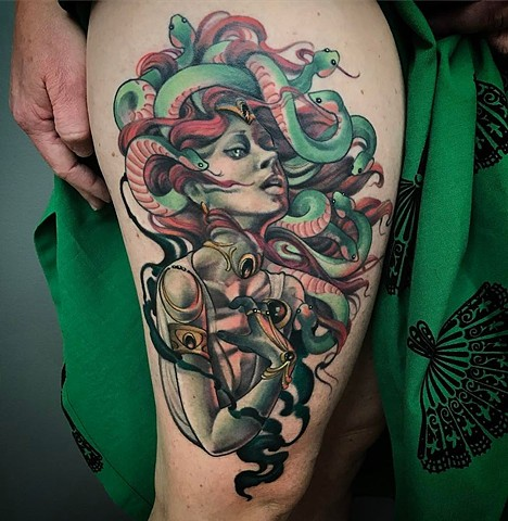 Medusa Thigh Tattoo