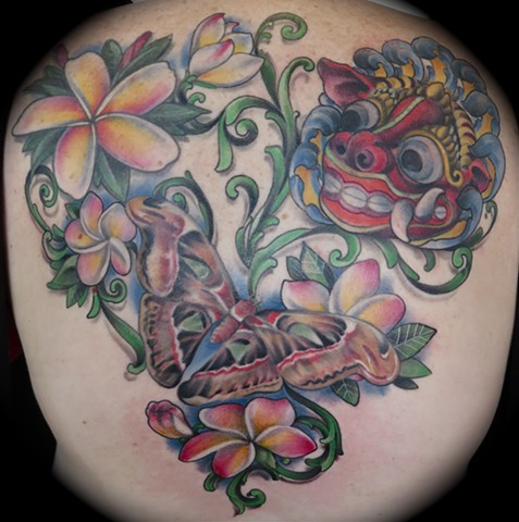 Bali Back Piece, with Barong Mask, Barong Moth, and Plumeria Flowers