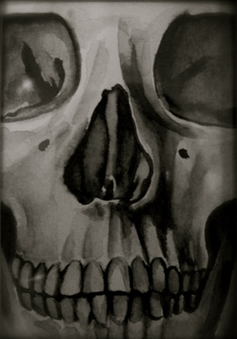 Black & Grey Water Color Skull
