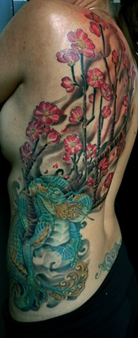 Japanese Dragon with Cherry Blossoms