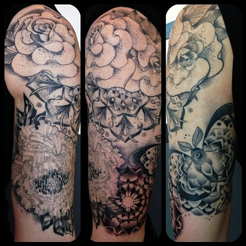 Black And Grey Mandala and Peonies Half Sleeve